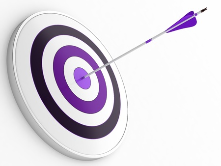 shooting target: 3D illustration of purple arrow hitting targets bullseye Stock Photo