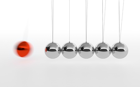 3D illustration of Newtons cradle with one red ball isolated on white