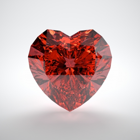 3D illustration of heart shaped ruby on white background illustration