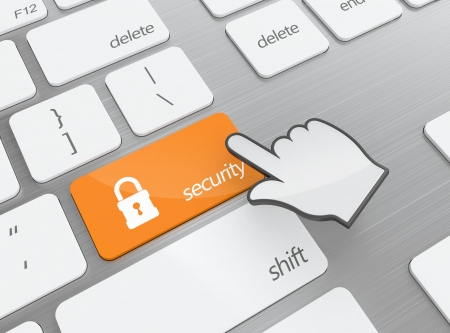 3D illustration of keyboard with security button Stock Illustration - 15063877