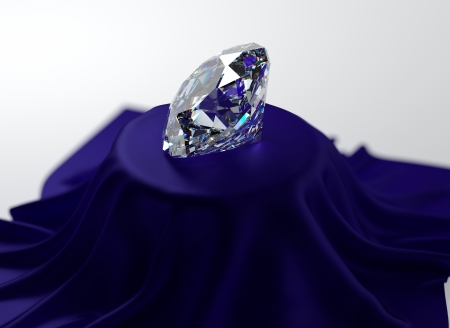 3D illustration of diamond on blue velvet illustration
