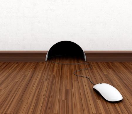 mouse hole: Computer mouse hidden in burrow. Fun concept.