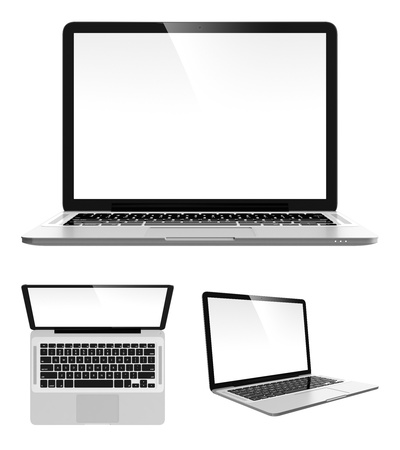 top angle view: Image set of modern laptop in different angles