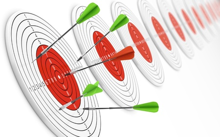 projectile: 3D illustration of red dart hitting bullseye and green darts missing