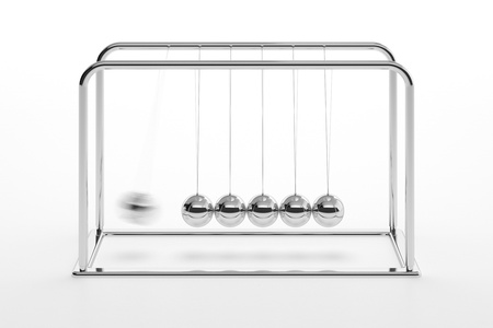 isaac newton: 3D illustration of Newtons cradle isolated on white