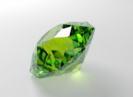 green gemstone: 3D illustration of emerald isolated on white background Stock Photo