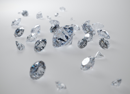 3D illustration of diamonds on gray background illustration