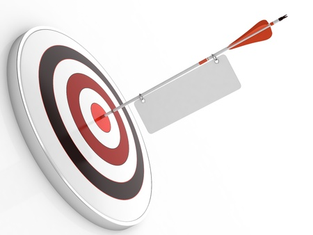 projectile: 3D illustration of red arrow hitting targets bullseye