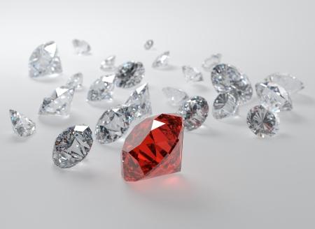 gemstones: 3D-afbeelding van edelstenen op grijze achtergrond