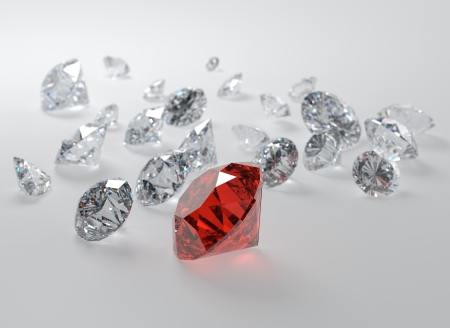 ruby stone: 3D illustration of gems on gray background