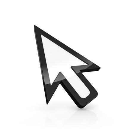 klik: 3D illustratie van de pijl aanwijzer op wit wordt geïsoleerd