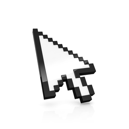 3D illustration of pixelated arrow pointer isolated on white Stock Illustration - 15285169
