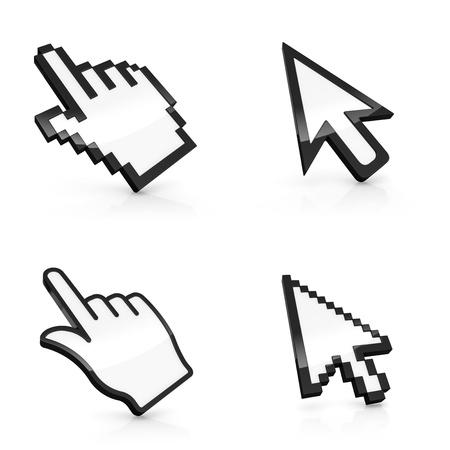 rat�n: Ilustraci�n 3D de cuatro tipos de punteros de rat�n aislados sobre fondo blanco