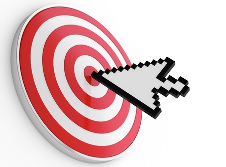 mouse icon: Abstract image of mouse pointer on bulls-eye. Symbol of right choice.