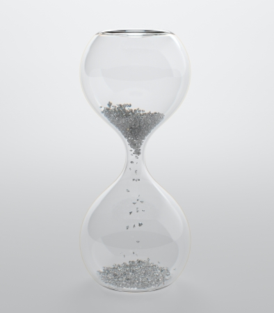 3D render of hourglass with diamond grain photo