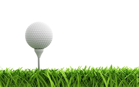 golf hole: 3d render of golf ball on green lawn Stock Photo