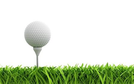 balle de golf: Rendu 3D de balle de golf sur la pelouse verte