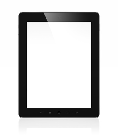 blank tablet: 3D illustration of modern tablet computer isolated on white background Stock Photo