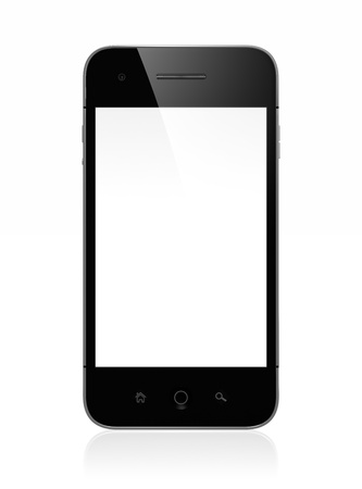 3D illustration of modern mobile phone with white blank screen isolated on white background Stock Illustration - 15285187