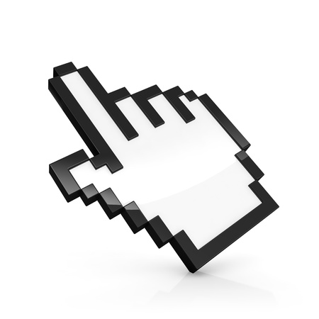 mouse cursor: 3D illustration of pixelated hand pointer isolated on white Stock Photo
