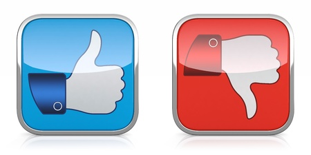 social actions: 3D illustration of thumb up and down icons isolated on white background