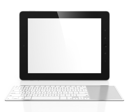 white keyboard: Tablet computer with white blank screen and keyboard isolated on white background Stock Photo