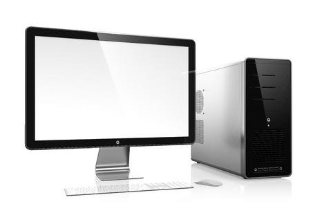 computer case: 3D illustration of modern computer isolated on white background Stock Photo