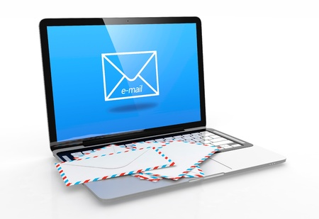 telegram: 3D illustration of modern laptop with e-mail symbol on screen and letter on keyboard Stock Photo