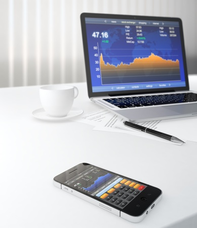 trader: 3D illustration of smartphone and laptop on table with stock market application on screen