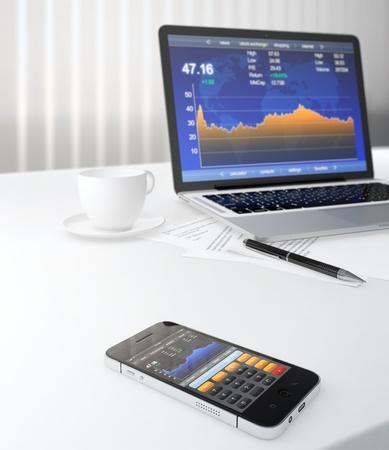 stock traders: 3D illustrazione di smartphone e computer portatile sul tavolo con l'applicazione di borsa sullo schermo Archivio Fotografico