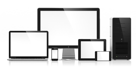 3D illustration of electronic devices isolated on white Stock Illustration - 15648440