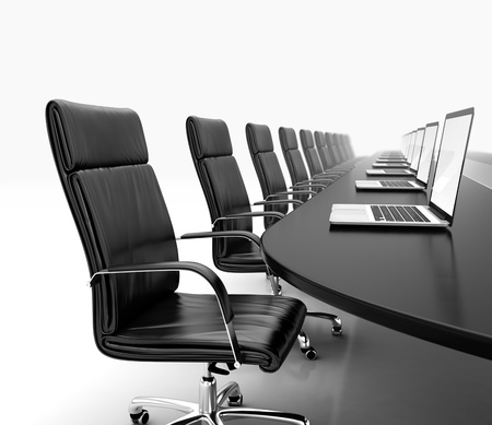 board room: 3D render of conference room with black table black leather chairs and laptops Stock Photo
