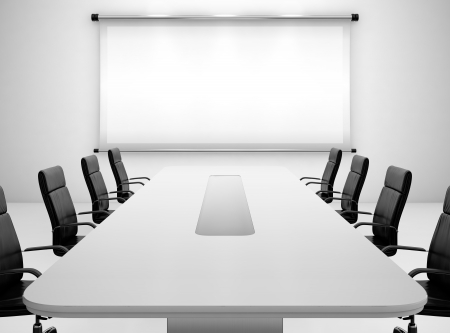 projections: 3D render of meeting room with projection screen and conference table