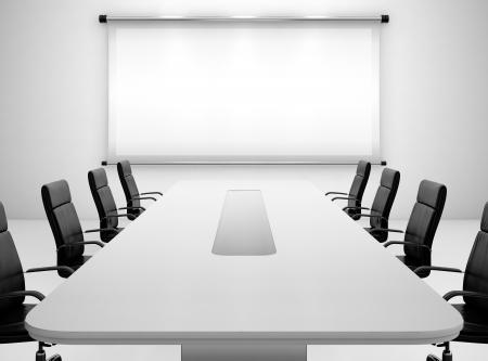 conferentie: 3D render van vergaderzaal met projectiescherm en vergadertafel