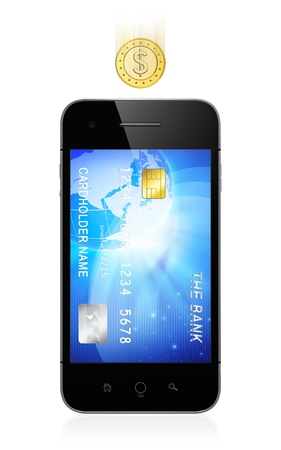 3D illustration of modern smartphone with credit card on screen isolated on white background. Mobile banking concept. illustration