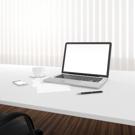 sitting at table: Businessmans place of work with laptop and smartphone on white table Stock Photo