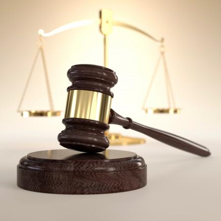 gerechtigkeit: 3D-Darstellung der Waage der Gerechtigkeit und Hammer auf orange Hintergrund