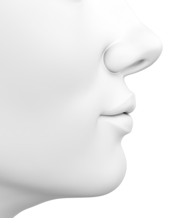 3D illustration of abstract white female face isolated on white background illustration