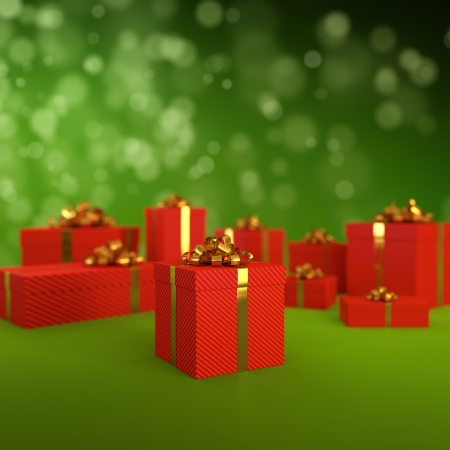 3D illustration of red gift boxes on green background Stock Illustration - 16306826