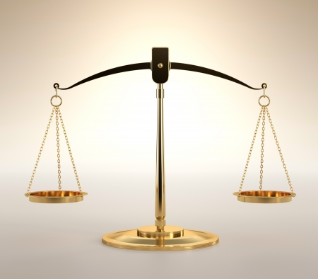 antique weight scale: 3D illustration of scales of justice on orange background Stock Photo