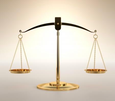 balanza en equilibrio: Ilustración 3D de la balanza de la justicia sobre fondo naranja