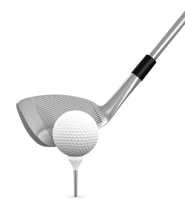 3d render of golf ball and club isolated on white background photo