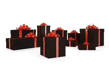 ruban noir: Illustration 3D de coffrets cadeaux noir avec ruban rouge isolé sur fond blanc Banque d'images