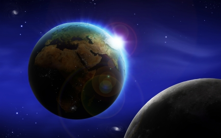 Abstract image of space background with earth and moon photo