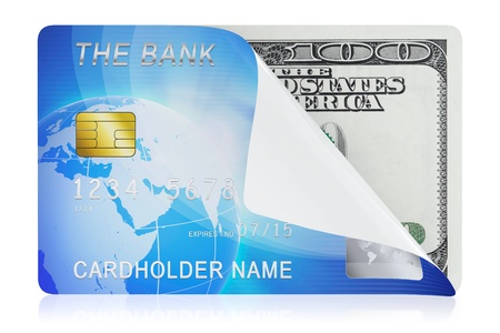 debit: 3D illustration of blue credit card concept isolated on white background