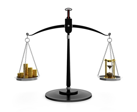 3D illustration of hourglass and gold coins on scales. Time is money concept illustration