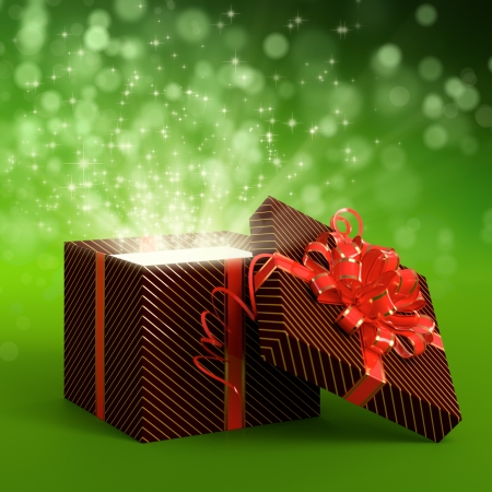 open present: 3D illustration of dark red gift box on green background Stock Photo