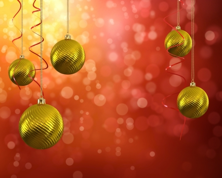 3D illustration of golden Christmas balls on red abstract background  illustration