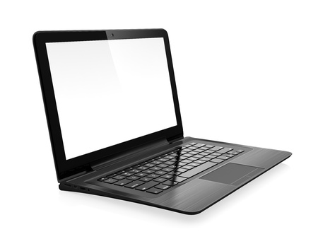 trackpad: 3D image of modern laptop with blank screen isolated on white