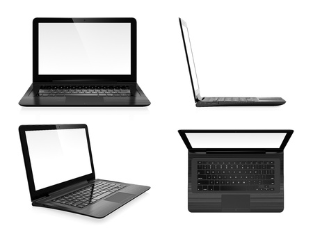 trackpad: Image set of modern laptop in different angles